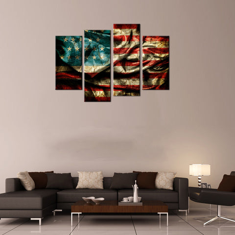Image of 4 Panel American Flag Canvas Wall Art Set - Ready To Hang
