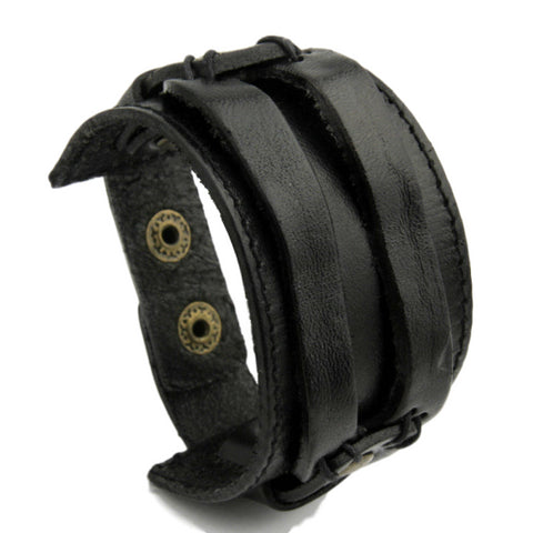 Image of Genuine Leather Wide Cuff Bracelet