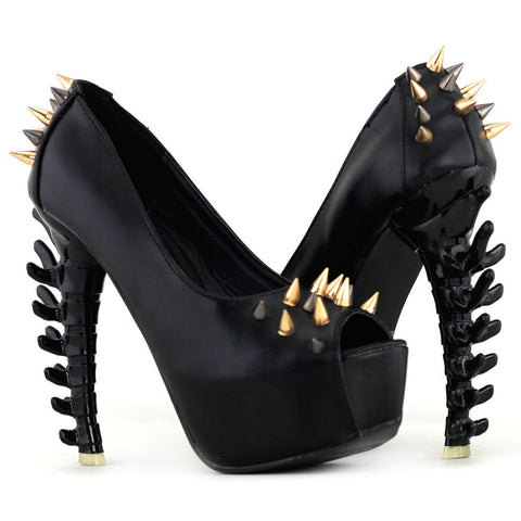 Black Gold Spiked Heels