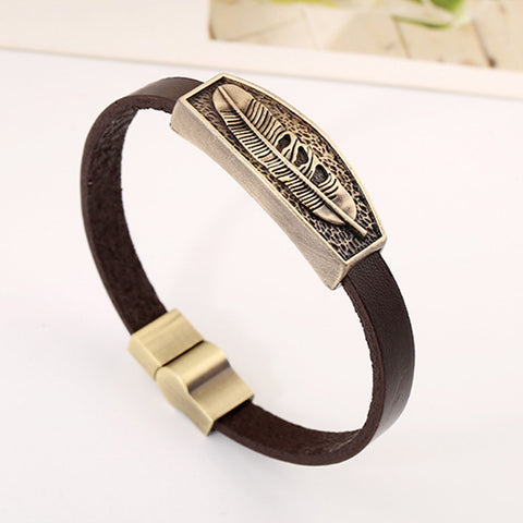 Image of Genuine Leather Feather Bracelet