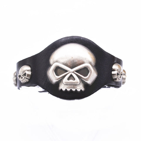 Image of Genuine Leather Skull Bracelets