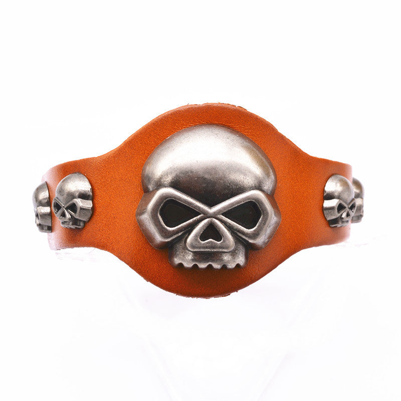 Genuine Leather Skull Bracelets
