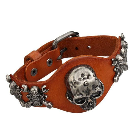 Image of (ONE TIME OFFER) Genuine Leather Skull Bracelet