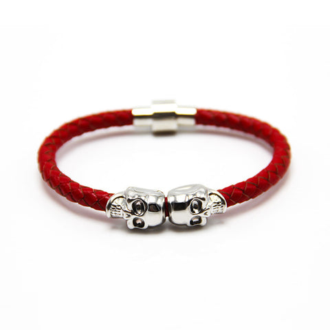 Image of Handmade Braided Genuine Leather Skull Wrap Bracelet