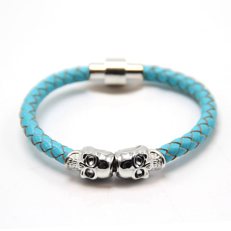 Handmade Braided Genuine Leather Skull Wrap Bracelet