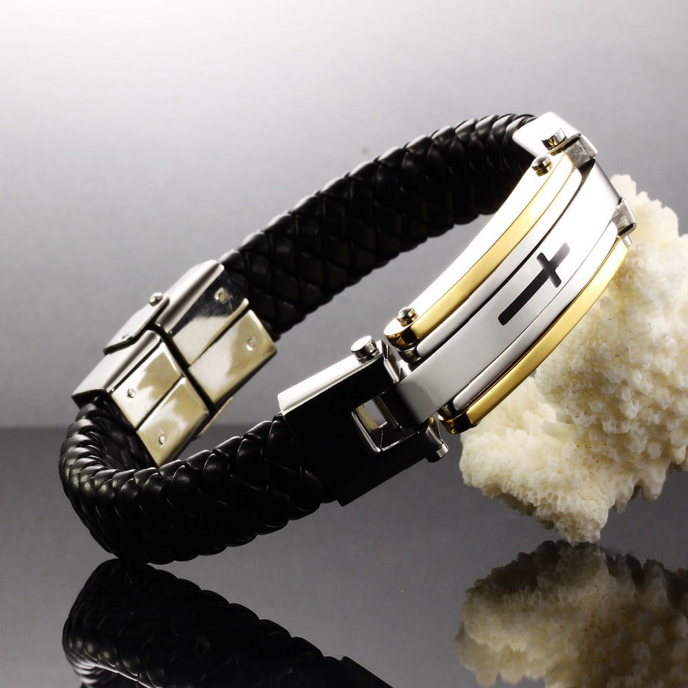 Genuine Leather Classic Cross Bracelet