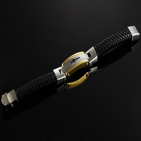 Image of Genuine Leather Classic Cross Bracelet