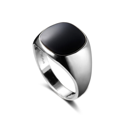 Image of Platinum Plated Onyx Signet Ring