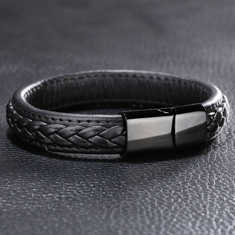 Genuine Leather Bracelet with Stainless Steel Clasp