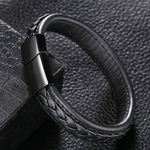 Image of (On Sale) Genuine Leather Bracelet with Stainless Steel Clasp