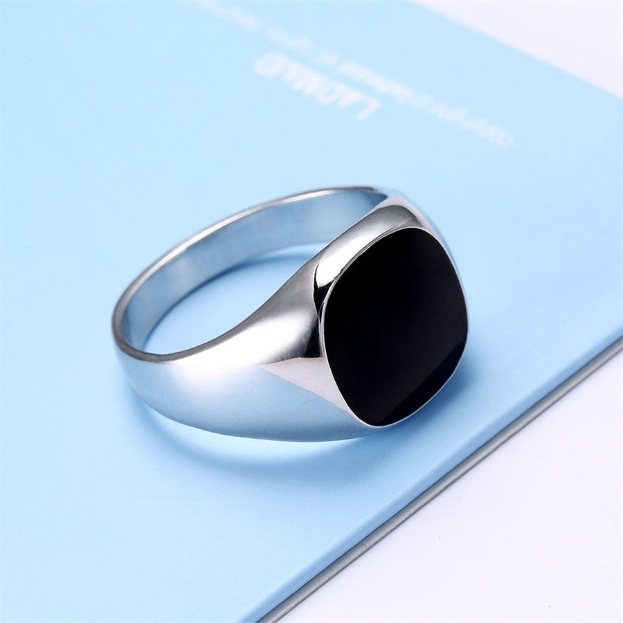 Platinum Plated Onyx Signet Ring