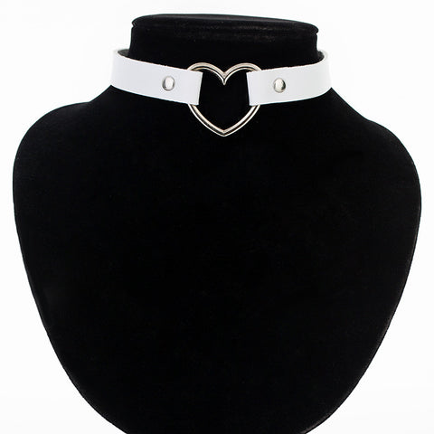 Image of Heart Studded Leather Choker