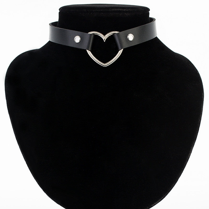 Heart Studded Leather Choker