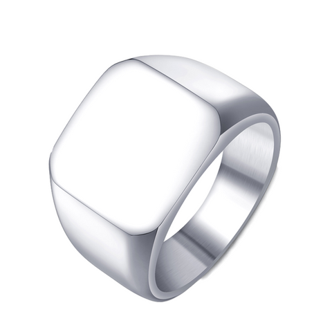 Image of Polished Stainless Steel Signet Rings