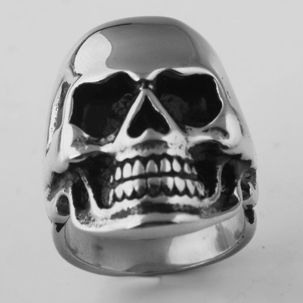 Stainless Steel Skull Ring with Bonus Eye Stones