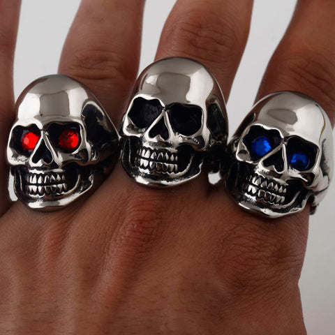 Image of Stainless Steel Skull Ring with Bonus Eye Stones
