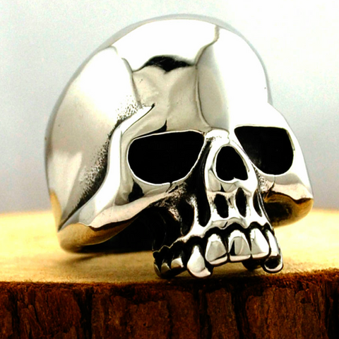 Image of Stainless Steel Polished Half Jaw Skull Ring