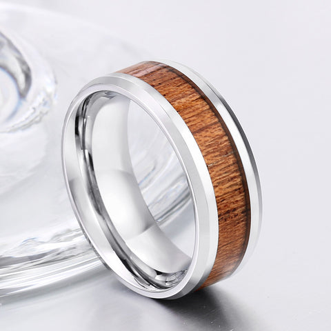 Image of Stainless Steel Rings with Simulated Wood Center