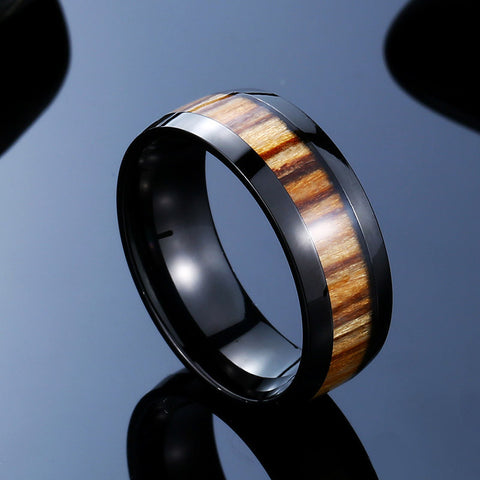 Stainless Steel Rings with Simulated Wood Center