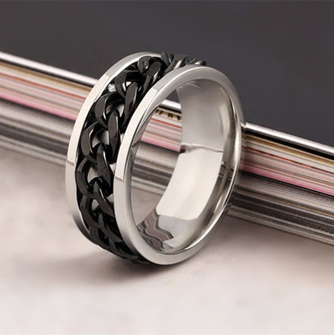 Image of Stainless Steel Cuban Chain Link Ring