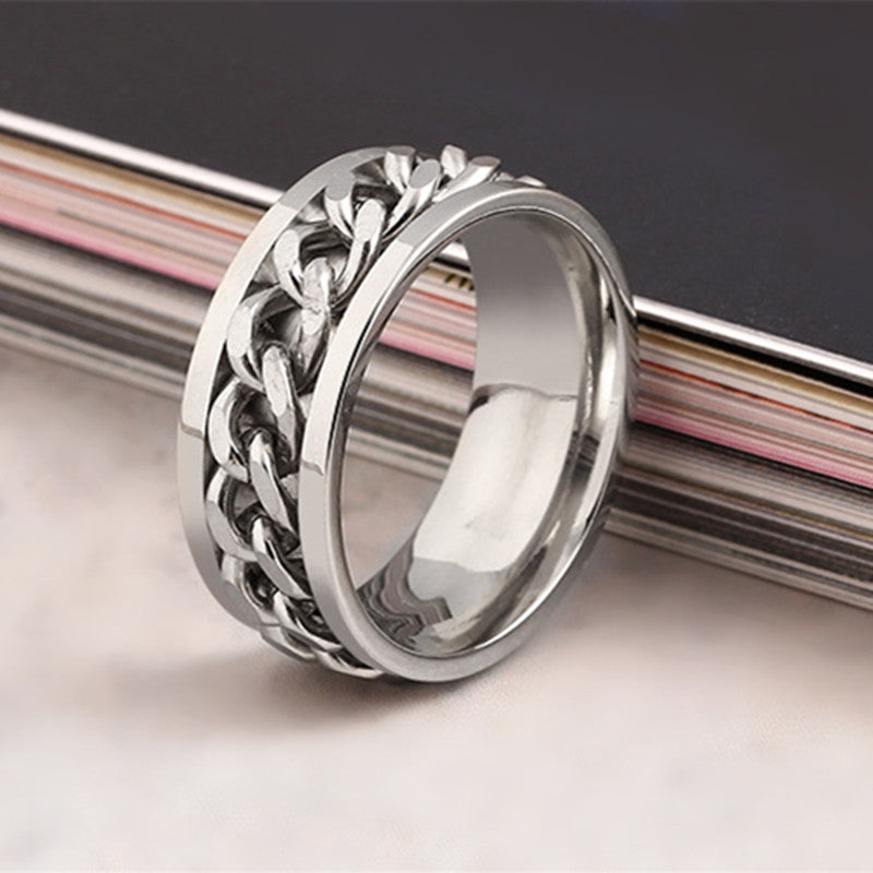 Stainless Steel Cuban Chain Link Ring