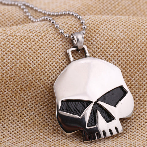 Image of Stainless Steel Skull Pendant and Necklace Set