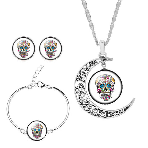 Cross Sugar Skull Jewelry Set