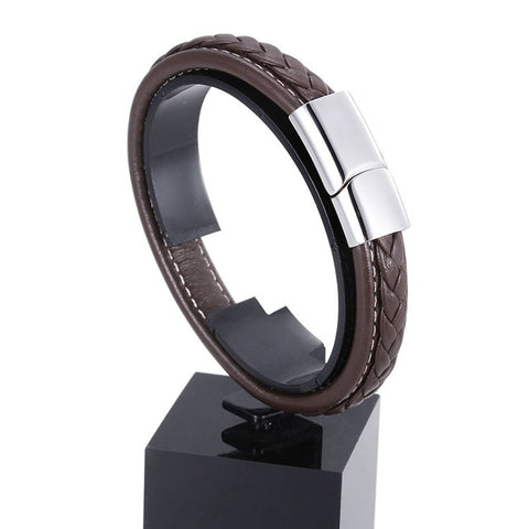 Image of Genuine Leather Bracelet with Stainless Steel Clasp
