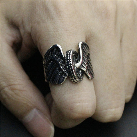 Image of Stainless Steel Tire With Wings Ring