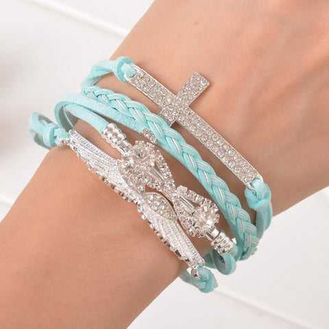 Image of Women's Angel Wings Cross Rhinestone Braided Leather Bracelet