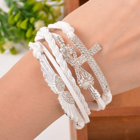 Women's Angel Wings Cross Rhinestone Braided Leather Bracelet
