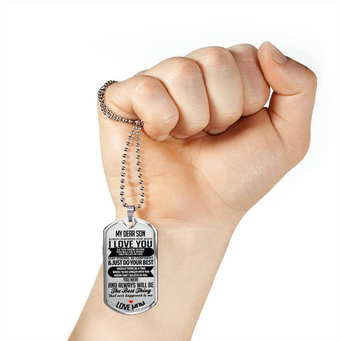 Image of My Dear Son Luxury Tag Necklace