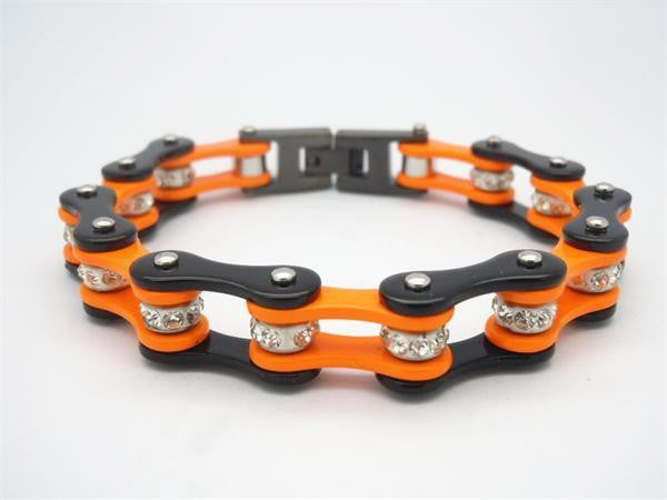 Orange and Black Stainless Steel Bracelet With Crystals