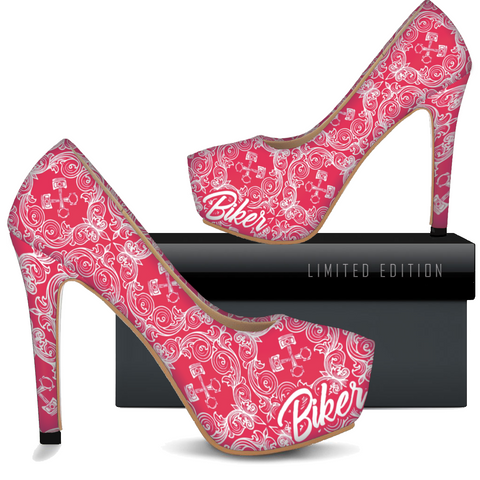 Image of Women's Red Biker Heels