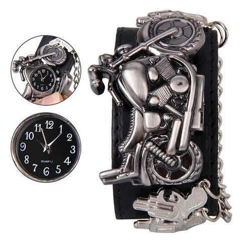 Image of Charm Bracelets - Leather Bracelet With Motorcycle Watch