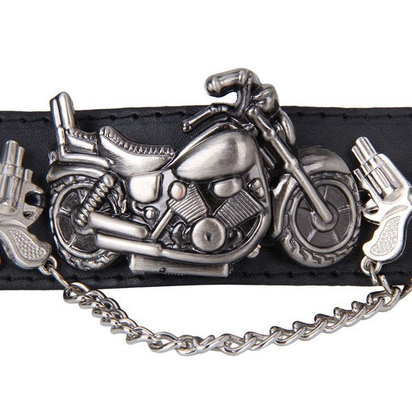 Charm Bracelets - Leather Bracelet With Motorcycle Watch