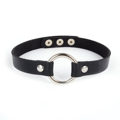 Chokers - Black Leather Biker Choker
