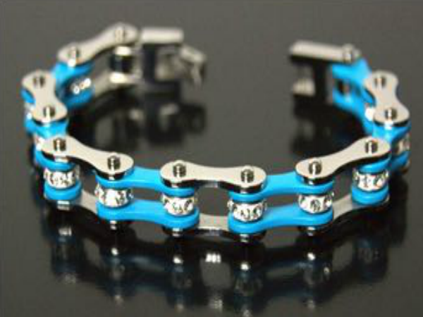 Blue Stainless Steel Bracelet with Crystals