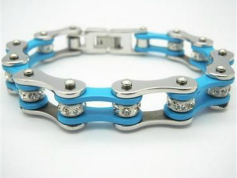 Image of Blue Stainless Steel Bracelet with Crystals