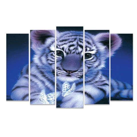 5 Panel Diamond White Tiger with Wooden Frame - Ready To Hang