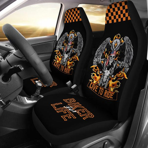 Biker For Life Seat Covers (Set Of 2)