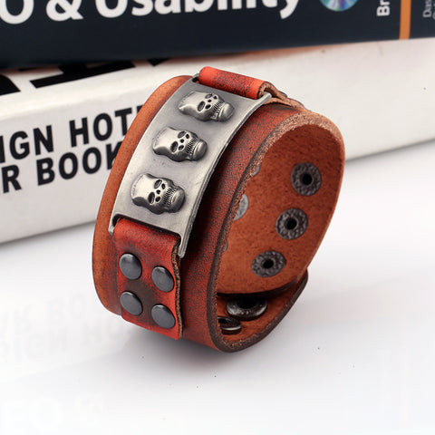 Image of Genuine Leather Skull Cuff Bracelets