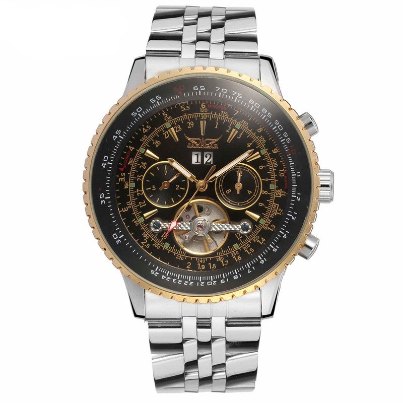 Golden Bezel Stainless Steel Men's Luxury Watch