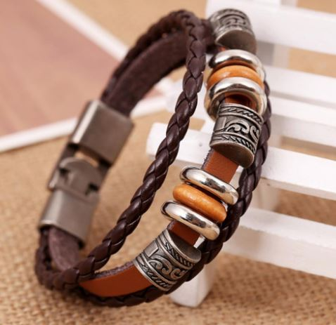 Hand Braided Brown Leather Bracelet