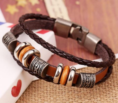 Image of Hand Braided Brown Leather Bracelet