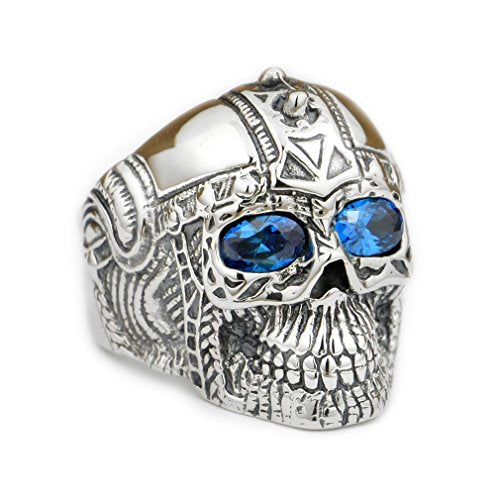 Handcrafted Sterling Silver Blue Eyes Skull Ring