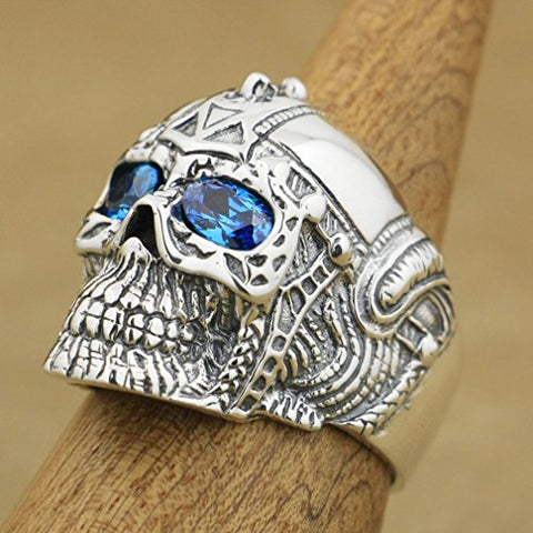 Image of Handcrafted Sterling Silver Blue Eyes Skull Ring