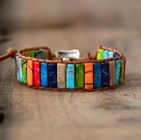 Image of 1 Handmade Multi Color Natural Stones Bracelet (One Bracelet)