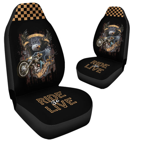 Image of (On Sale) Ride To Live Car Seat Covers (Set of 2)