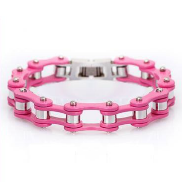 Pink Stainless Steel Chain Link Bracelet